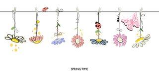 Spring time decorative floral abstract border background vector Stock Photos