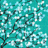 Blue floral print royalty free illustration