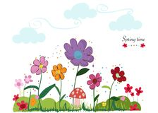 Spring time floral cute background. Colorful spring flowers and mushroom. Spring time background. Wallpaper Royalty Free Stock Photos