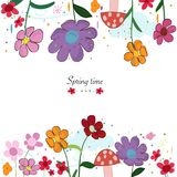 Spring time floral cute background. Colorful spring flowers and mushroom. Spring time background. Wallpaper Stock Image