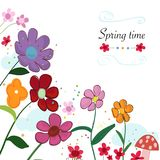 Spring time floral cute background. Colorful spring flowers and mushroom. Spring time background. Wallpaper Royalty Free Stock Photography