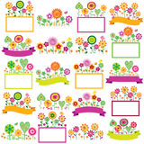Spring time floral frames set Royalty Free Stock Photos