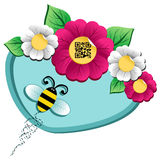 Spring time flower and Bee with qr code Royalty Free Stock Image