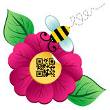Spring time flower and Bee with qr code Stock Photography