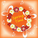 Spring time with flowers, butterflies. And the text in the center Stock Photography
