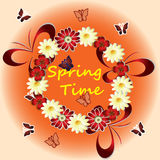 Spring time with flowers, butterflies Royalty Free Stock Image