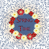 Spring time with flowers, butterflies. And the text in the center Royalty Free Stock Image