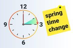 Spring Time forward. Summer clock change. Daylight saving time. Vector stock illustration