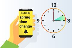 Spring Time forward. Summer clock change. Daylight saving time. Vector Royalty Free Stock Images