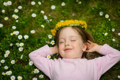 Spring time - girl in flowers Stock Image