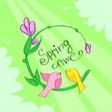 Spring Time Green Flower Banner Birds. Background Vector Illustration Royalty Free Stock Image