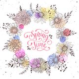 Spring time greeting card. Floral wreath with Spring time text. Romantic template for greeting cards and invitation. Spring vector wording with hand drawn Royalty Free Stock Photo