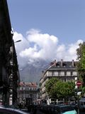 Spring time in Grenoble 1. Grenoble urban scene among the mountains in Spring stock images