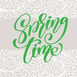 Spring Time. Hand drawn calligraphy and brush pen lettering. design for holiday greeting card and invitation of seasonal Royalty Free Stock Photos