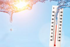 Spring time ice is melting on sun. Thermometer with sunny sky.High temperature concept royalty free stock photo