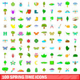 100 spring time icons set, cartoon style. 100 spring time icons set in cartoon style for any design vector illustration Royalty Free Stock Photos