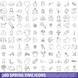 100 spring time icons set, outline style Stock Images