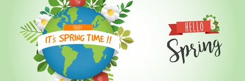 Hello spring web banner with green earth planet Stock Image