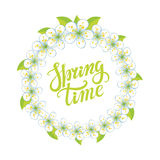 Spring time lettering.Cherry flowers circle wreath Royalty Free Stock Image