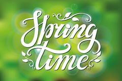 Spring time lettering.Green blurred background Stock Photography