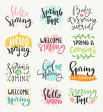 Spring time lettering greeting cards set special spring sale typography poster in gold black and white colors vector Stock Photos