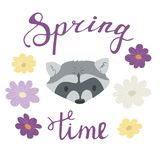 Spring time lettering inscription with raccoon. Portrait surrounded with flowers. Vector cartoon illustration Stock Photos