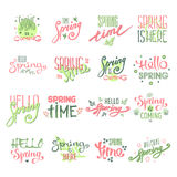 Spring time lettering text for greeting card special spring typography and art hand drawn nature greeting phrase vintage Stock Photo