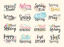 Spring time lettering text greeting card special spring typography hand drawn graphic vector illustration badge Stock Image