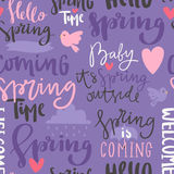 Spring time lettering text greeting card typography hand drawn graphic vector illustration seamless pattern background Stock Photography
