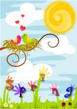 Spring time, love in the air. Beauty colorful  illustration - spring time, love in the air Stock Photography