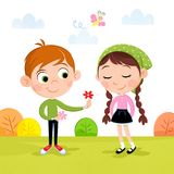 Spring time - Lovely little boy and girl in the garden royalty free illustration