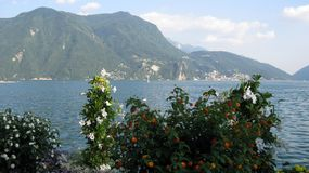 Spring time Lugano Lake. Switzerland royalty free stock photo