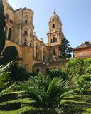 Spring time in spain. South of spain. Spring time in malaga spain, cathedral of malaga and sky. Nature is green Royalty Free Stock Images