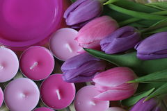 Spring time, Mothers day, flowers and candles, pink, purple, lovely time, nice smell, lovely colors, romantic colors, valentines. Spring time, spring colors Stock Image