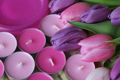 Spring time, Mothers day, flowers and candles, pink, purple, lovely time, nice smell, lovely colors, romantic colors, valentines. Spring time, spring colors Stock Photo