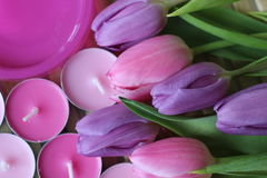 Spring time, Mothers day, flowers and candles, pink, purple, lovely time, nice smell, lovely colors, romantic colors, valentines. Spring time, spring colors Stock Photos