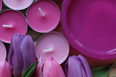 Spring time, Mothers day, flowers and candles, pink, purple, lovely time, nice smell, lovely colors, romantic colors, valentines. Spring time, spring colors Stock Images