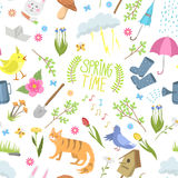 Spring time natural floral symbols icons beauty design nature vector seamless pattern background Royalty Free Stock Photos