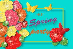 Spring time party background with colorful flowers and butterflies. Template for banners flyers invitation posters brochure, vouch Stock Illustration