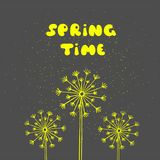 Spring time postcard. Seasonal phrase. Ink illustration. Modern brush calligraphy. Stock Photo