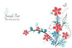 Spring time red flowers vector illustration border design background Stock Image