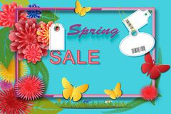 Spring time sale background with colorful flowers and leaves, butterflies and labels with an abstract barcode. Template for banner. S flyers invitation posters Stock Photography