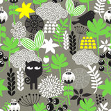Spring time seamless pattern with cute hunter cat and bird. Royalty Free Stock Images
