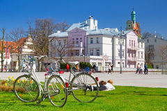 Spring time on the square in Sopot, Poland Stock Photo