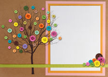 Spring time tree made of buttons with copy-space. Spring time tree with button leaves, paper composite with copy space on right side royalty free illustration