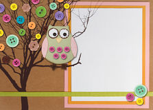 Spring time tree with owl on paper background. Spring time tree with owl and buttons on paper background with white copy space Stock Photo