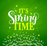 Spring time vector banner design in textured green background Stock Photos