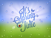 Spring Time Vintage Lettering Background. Stock Photos