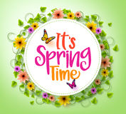 Spring Time in a White Circle with Wreath of Colorful Flowers Stock Photo
