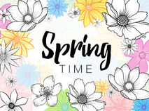 Spring time wording with hand drawn colorful flowers on white background Royalty Free Stock Photography